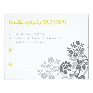 "Floral Stripes Response Card 4.25"" X 5.5"" Invitation Card"