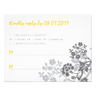 Floral Stripes Response Card Personalized Invites