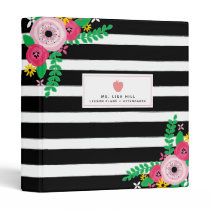 Floral Stripes Teacher Binder
