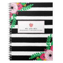 Floral Stripes Teacher Notebook