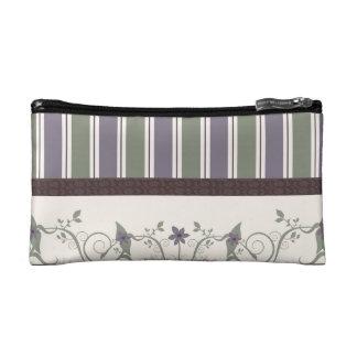 Floral & Stripes Wallpaper Cosmetic Bag
