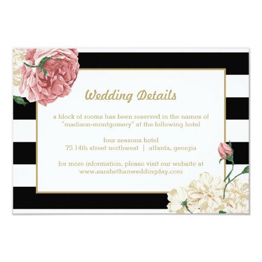 Floral Stripes Wedding Enclosure Cards