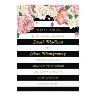 "Floral Stripes Wedding Invitations 5"" X 7"" Invitation Card"