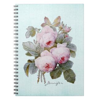 Floral subió Borbón de Redoute del inglés personal Libro De Apuntes Con Espiral