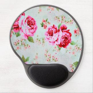 Floral subió elegante del rosa de cabaña del alfombrillas de ratón con gel