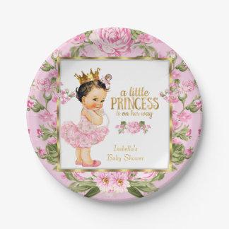 Floral subió oro del rosa de la princesa fiesta de plato de papel de 7 pulgadas