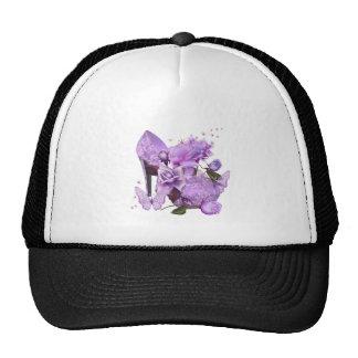 Floral subió púrpura bonito del talón de la gorras