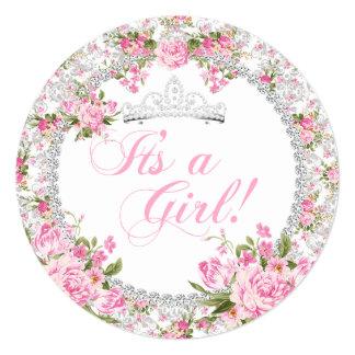 """Floral subió vintage del chica de la princesa invitación 5.25"""" x 5.25"""""""