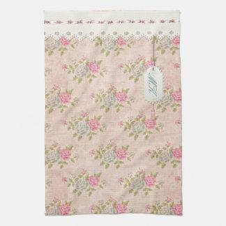 Floral subió vintage toallas de mano