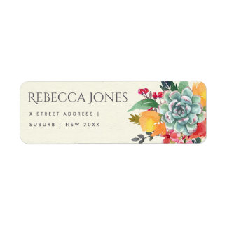 FLORAL SUCCULENT ANTLER BOHEMIAN ALLURE  ADDRESS LABEL