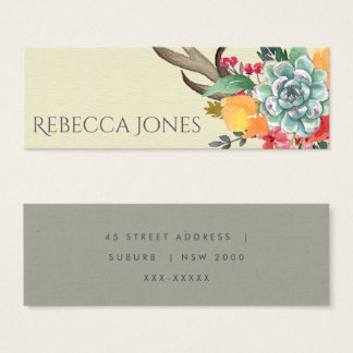 FLORAL SUCCULENT ANTLER BOHEMIAN ALLURE ADDRESS MINI BUSINESS CARD