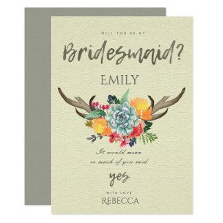 FLORAL SUCCULENT ANTLER BOHEMIAN ALLURE BRIDESMAID CARD