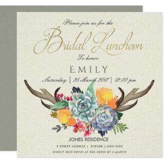 FLORAL SUCCULENT ANTLER BOHEMIAN BRIDAL LUNCHEON CARD
