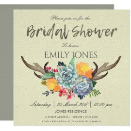 FLORAL SUCCULENT ANTLER BOHEMIAN BRIDAL SHOWER CARD