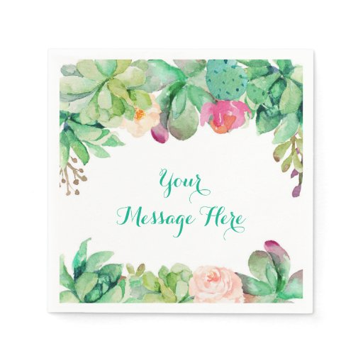 Floral Succulent Baby Shower Paper Napkin