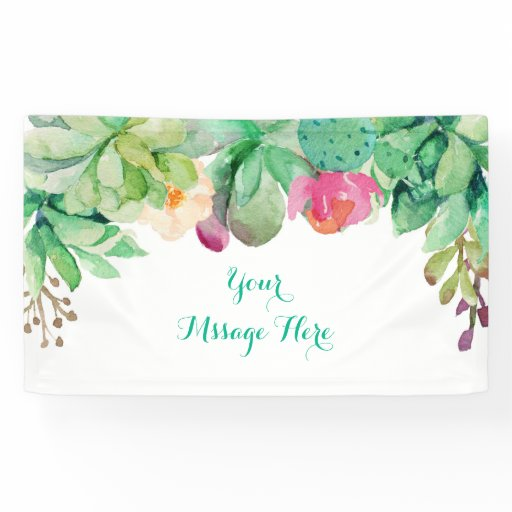 Floral Succulent Bridal Shower Banner