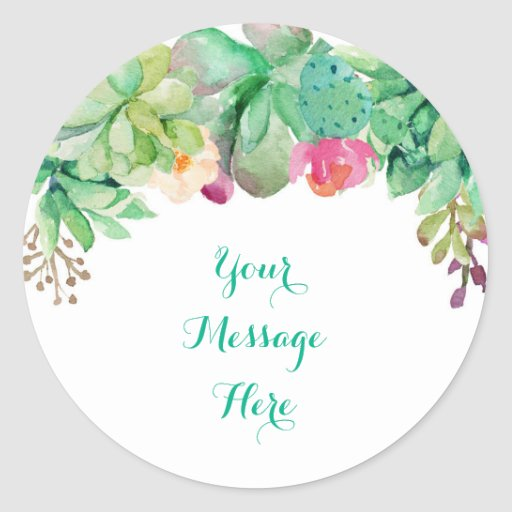 Floral Succulent Bridal Shower Classic Round Sticker