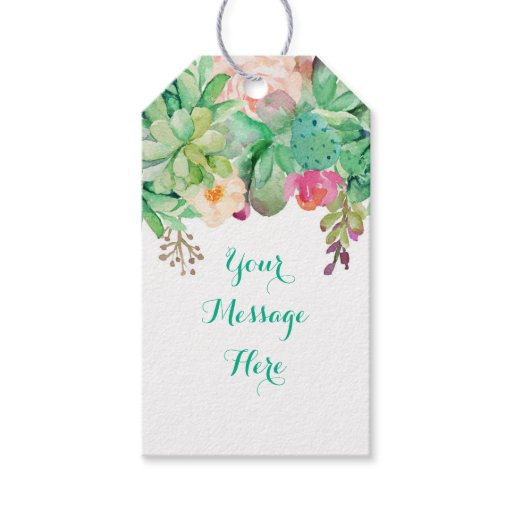 Floral Succulent Bridal Shower Gift Tags