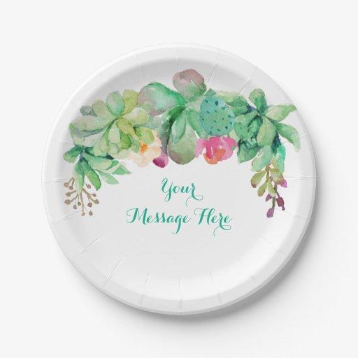 Floral Succulent Bridal Shower Paper Plate