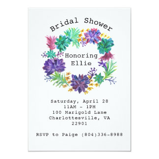 Floral & Succulent Wreath Bridal Shower Invite
