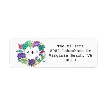 Floral & Succulent Wreath Return Address Label