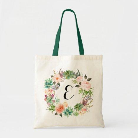 Floral Succulents Blush Peach Wreath Personalized Tote Bag