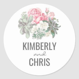 Floral Succulents Bouquet and Pink Roses Wedding Classic Round Sticker