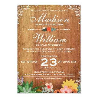 Floral Succulents Rustic Wedding Invitation