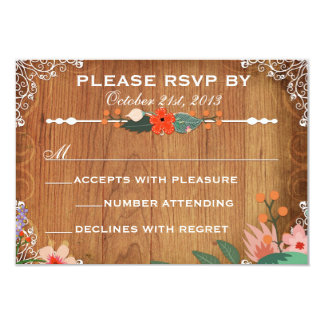 Floral Succulents Rustic Wedding rsvp 3.5x5 Paper Invitation Card