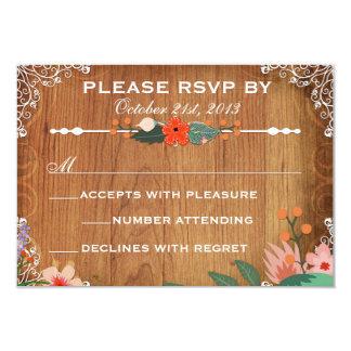 Floral Succulents Rustic Wedding rsvp Card