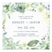 Floral Succulents Square Wedding Invitation