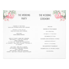 Floral Succulents Wedding Fan Programs Flyer at Zazzle