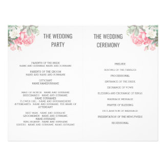 Floral Succulents Wedding Fan Programs Flyer