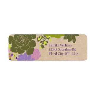 Floral suculento elegante rústico etiquetas de remite