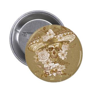 Floral Sugar Skull 2 Inch Round Button