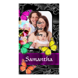 Floral sugar skull and butterflies business card