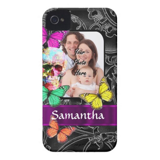 Floral sugar skull and butterflies iPhone 4 Case-Mate case