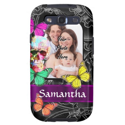 Floral sugar skull and butterflies samsung galaxy SIII case
