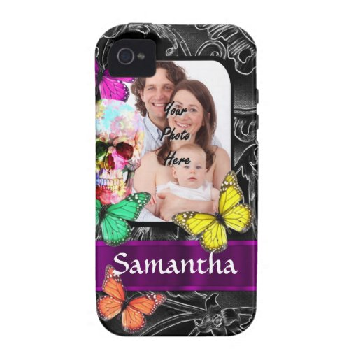 Floral sugar skull and butterflies Case-Mate iPhone 4 cover