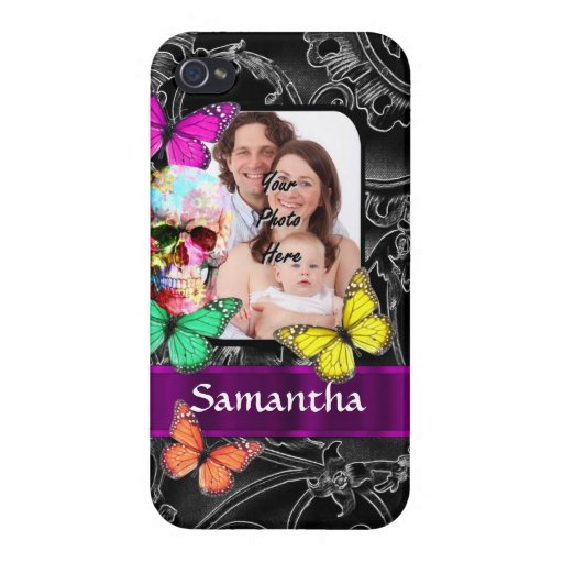 Floral sugar skull and butterflies case for iPhone 4