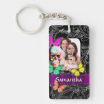 Floral sugar skull and butterflies acrylic key chain
