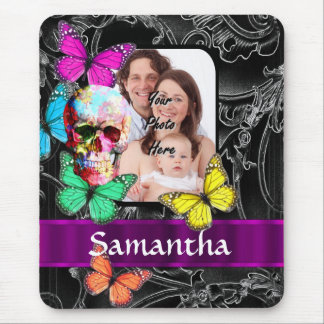 Floral sugar skull and butterflies mouse pad