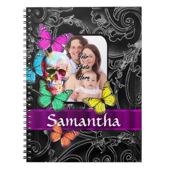 Floral sugar skull and butterflies notebook