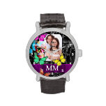 Floral sugar skull, butterflies and monogram watches