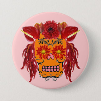 Floral Sugar Skull Button