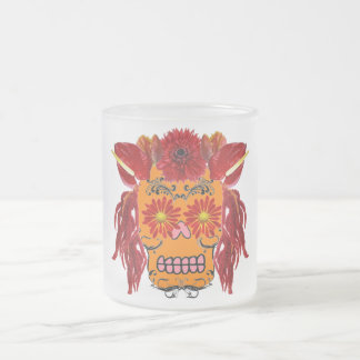 Floral Sugar Skull Frosted Glass Coffee Mug