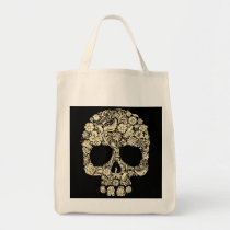 Floral Sugar Skull Grocery Tote Bag