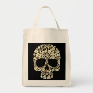 Floral Sugar Skull Grocery Tote Bag