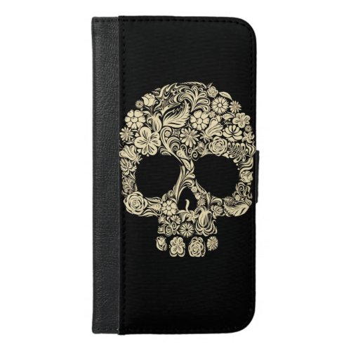 Floral Sugar Skull iPhone 6 Plus Wallet Case Phone Case