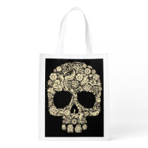 Floral Sugar Skull Reusable Grocery Bag